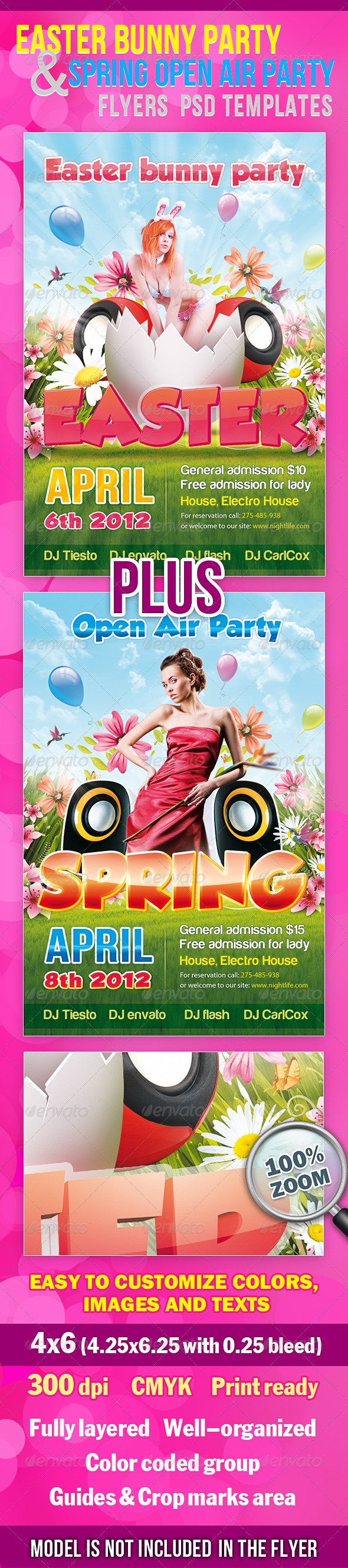 Easter Party And Spring Party Flyers PSD Templates - Clubs & Parties Events
