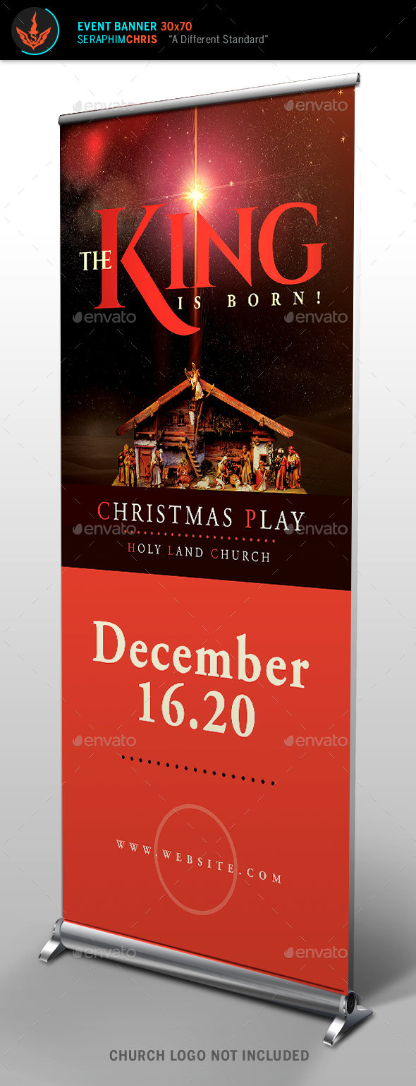 The King Is Born Christmas Roll Up Banner Template - Signage Print Templates
