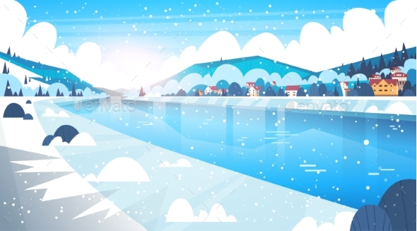 Landscape Of Winter Village Houses Near Mountain - Seasons/Holidays Conceptual