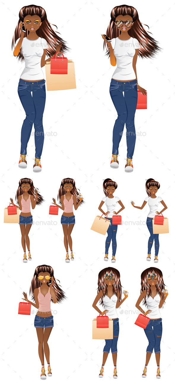 Afro American Shopping Girl - People Characters
