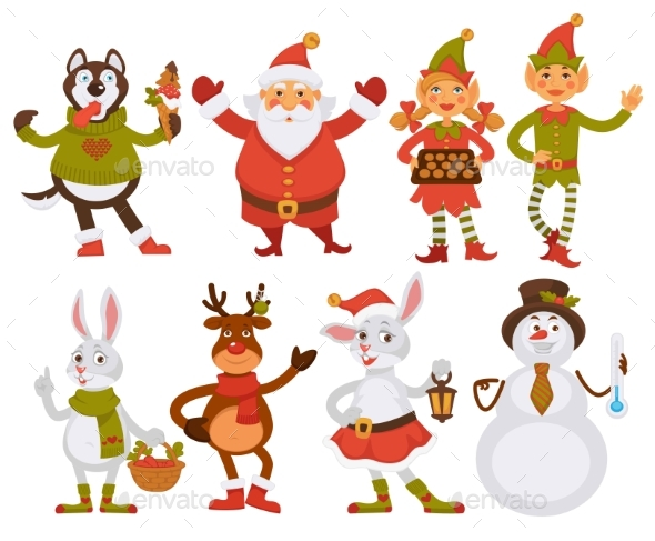 GraphicRiver Christmas Santa Friends Cartoon Characters Vector 21013869
