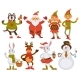 Christmas Santa Friends Cartoon Characters Vector