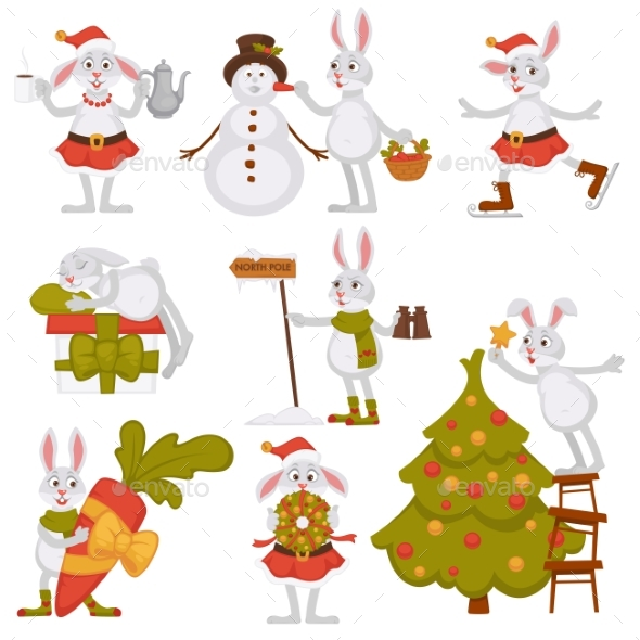 GraphicRiver Christmas Bunny Rabbit Santa Cartoon Character 21013907