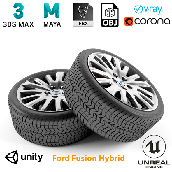 Ford Fusion Hybrid Wheel - 3DOcean Item for Sale