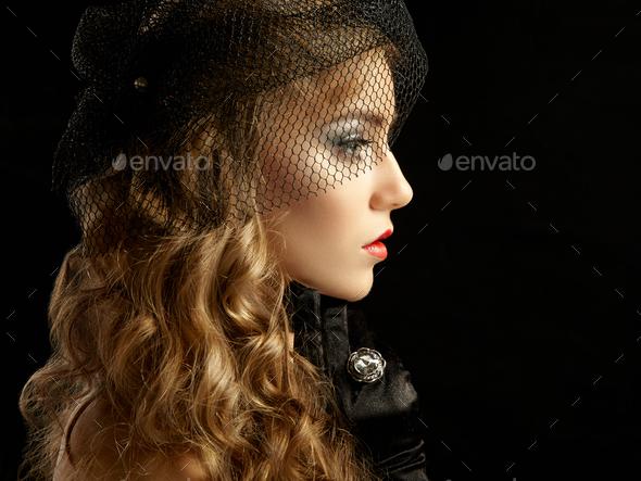 Retro portrait of  beautiful woman. Vintage style - Stock Photo - Images