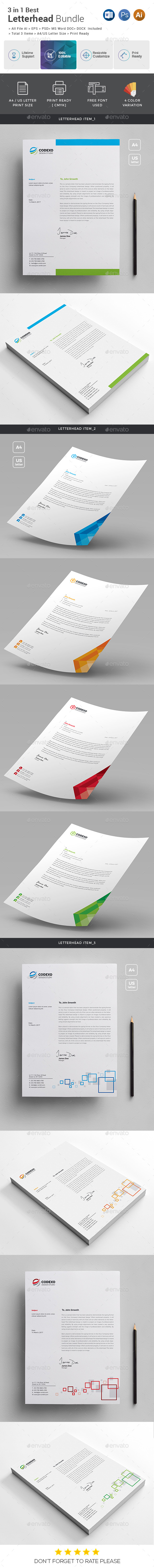 GraphicRiver Letterhead Bundle 3 in 1 21014482