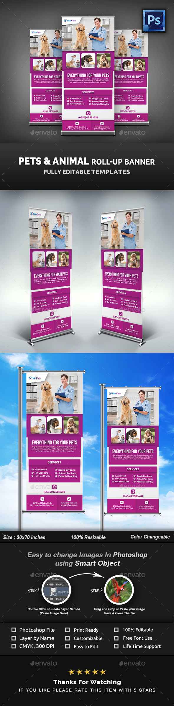 Pet Care Roll-Up Banner Template - Signage Print Templates