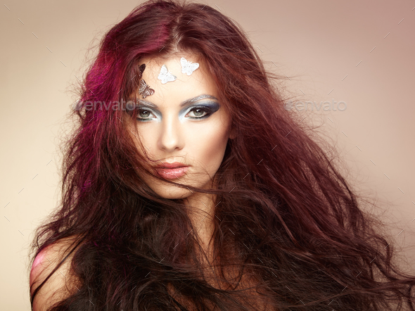 Portrait beautiful young woman with flying hair - Stock Photo - Images
