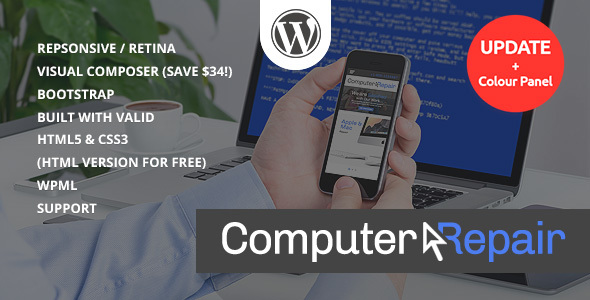 Computer and Laptop repair services WordPress Theme