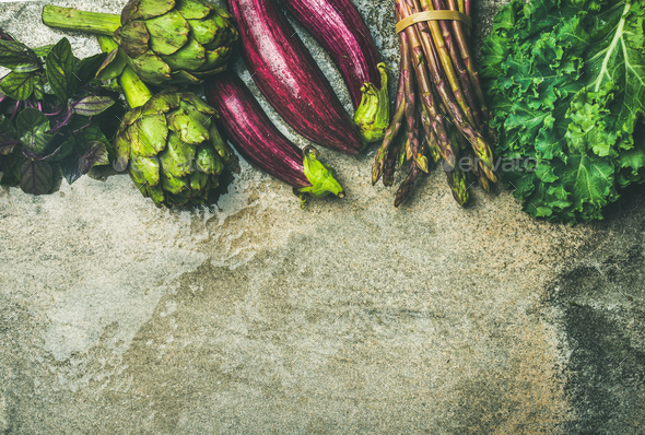 Flat-lay of fresh green and purple vegetables, copy space - Stock Photo - Images