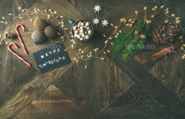 Flat-lay of greeting card, mug of hot chocolate, copy space - Stock Photo - Images