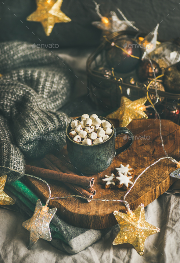 Christmas winter hot chocolate with marshmellows and cinnamon sticks - Stock Photo - Images