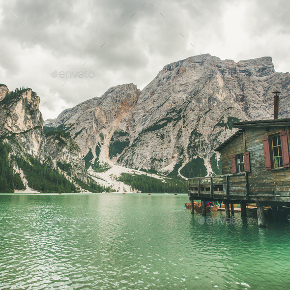 Lago di Braies in Fanes-Sennes-Braies Nature Park, Italy. Square crop - Stock Photo - Images