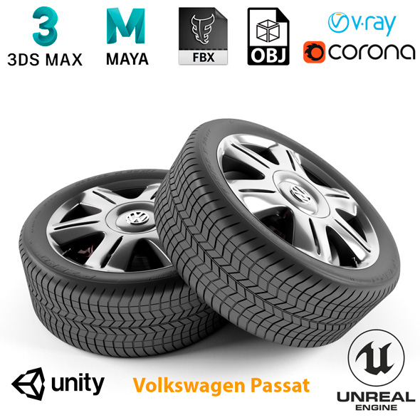 Volkswagen Passat Wheel - 3DOcean Item for Sale