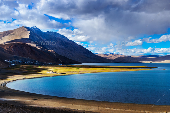 Tso Moriri on sunset, Ladakh - Stock Photo - Images