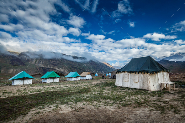 Tent camp in Himalayas - Stock Photo - Images