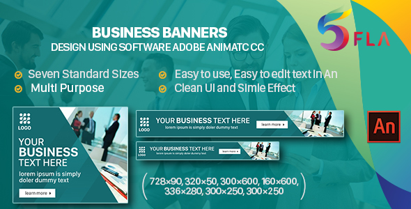Business Banners HTML5 - 7 Sizes - (Animate CC) Best Scripts
