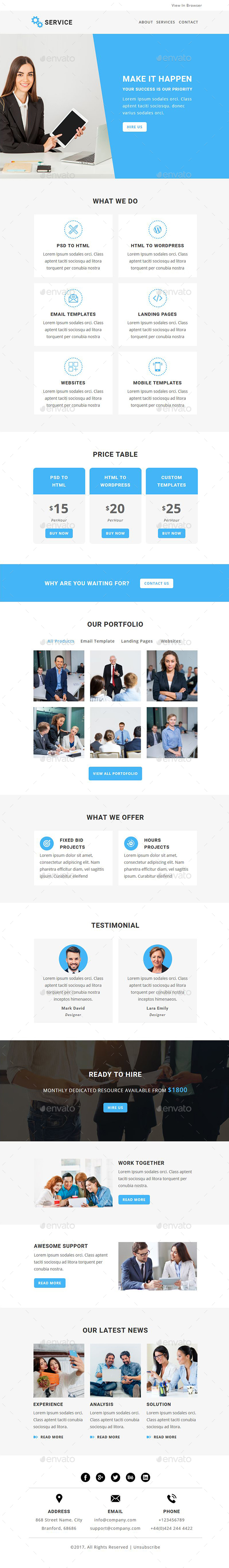 Service - Email PSD Template - E-newsletters Web Elements