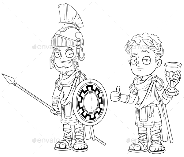 Cartoon Roman Imperator with Spear Character Set - Miscellaneous Characters