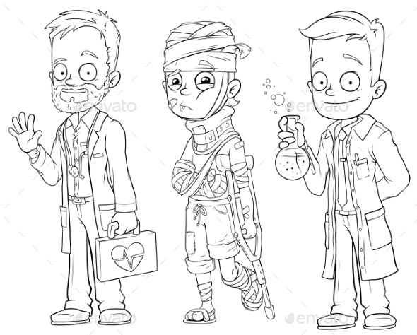 Cartoon Doctor Patient Scientist Character Set - Miscellaneous Characters