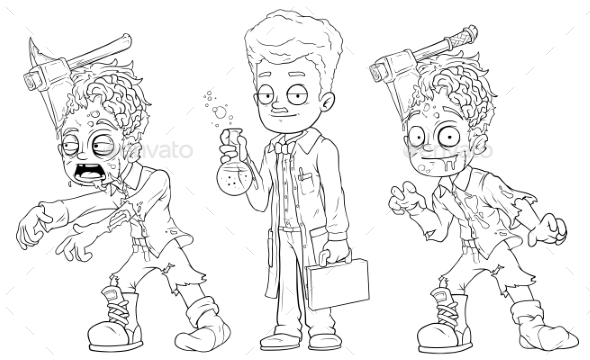 GraphicRiver Cartoon Walking Zombie Scientist Character Set 21015329