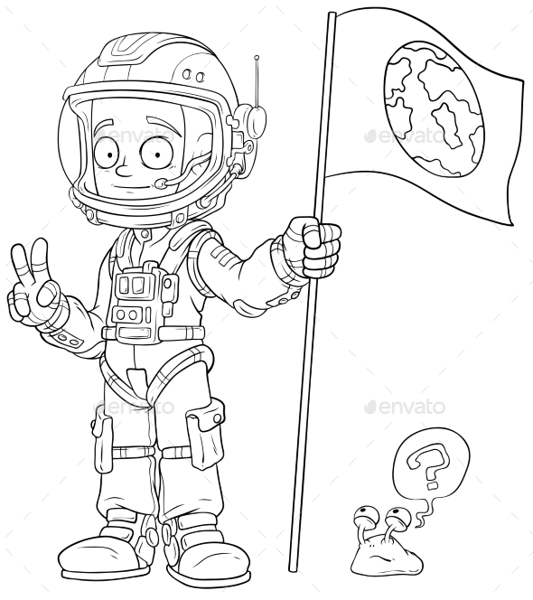 Cartoon Astronaut in Space Suit Character - Miscellaneous Characters
