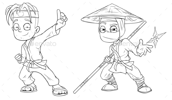 Cartoon Karate Boy and Ninja Character Vector Set - Miscellaneous Characters