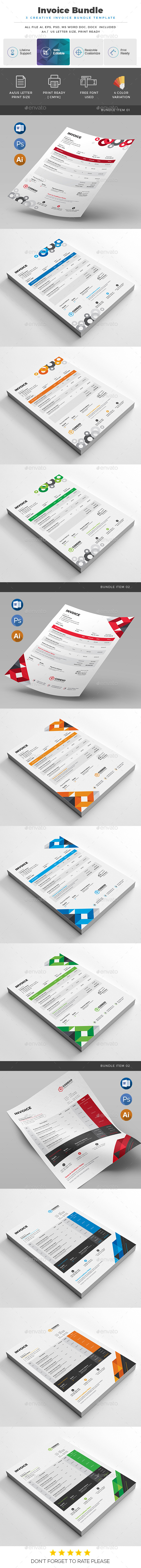 Invoice Bundle 3 in 1 - Stationery Print Templates