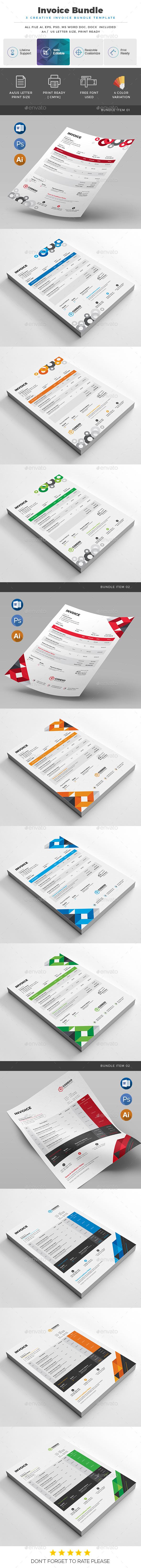 GraphicRiver Invoice Bundle 3 in 1 21015347