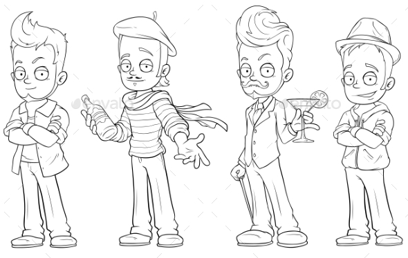 Cartoon Handsome Guys with Alcohol Character Set - Miscellaneous Characters