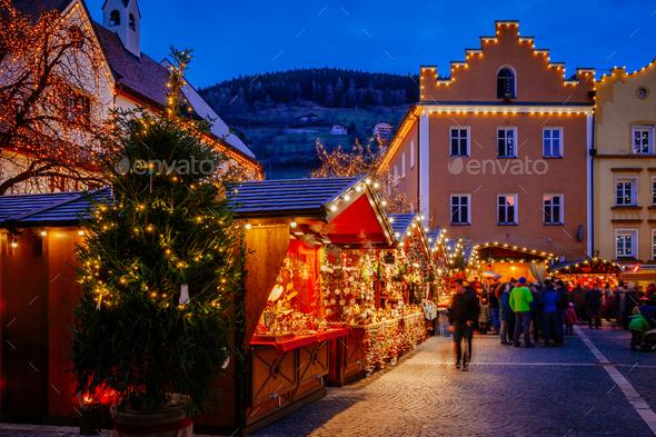 Christmas Market, Vipiteno, Bolzano, Trentino Alto Adige, Italy - Stock Photo - Images