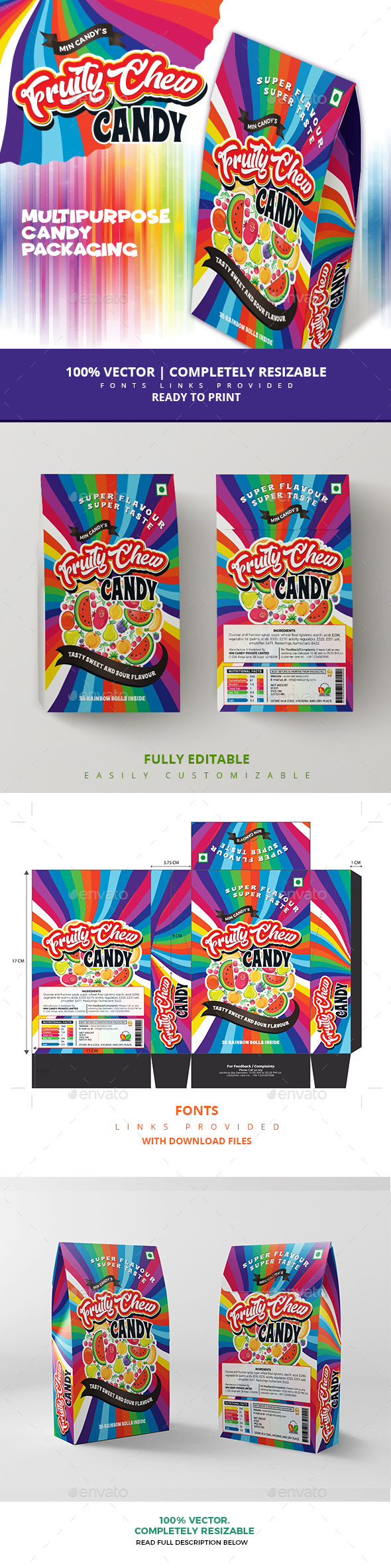 Mixed Fruit Candy Packaging - Packaging Print Templates