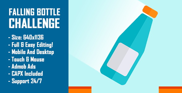 CodeCanyon Falling Bottle Challenge Bottle Flip Challenge HTML5 Game & Mobile Version Construct-2 CAPX 20998912