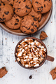 Hot chocolate with marshmallow and chocolate cookies. Flat lay. - PhotoDune Item for Sale