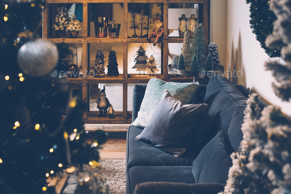 Interior view of decorated living room - Stock Photo - Images