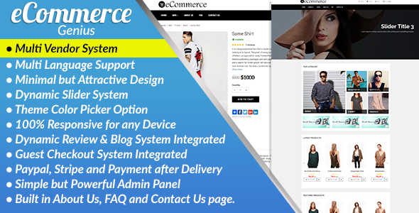 CodeCanyon eCommerce Genius Complete Multi Vendor eCommerce Business Management System 20963570