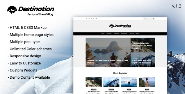 Destination Travel WordPress Blog Theme - Blog / Magazine WordPress