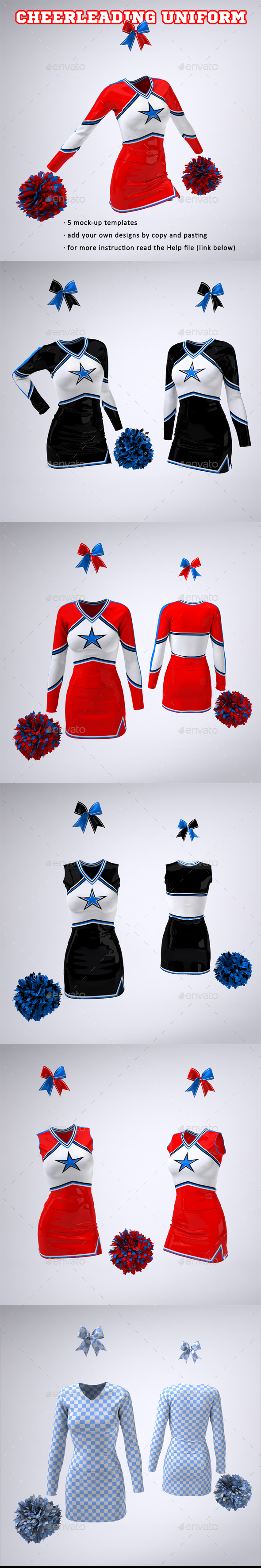 Cheerleading Uniform Mock-Up - Apparel Product Mock-Ups
