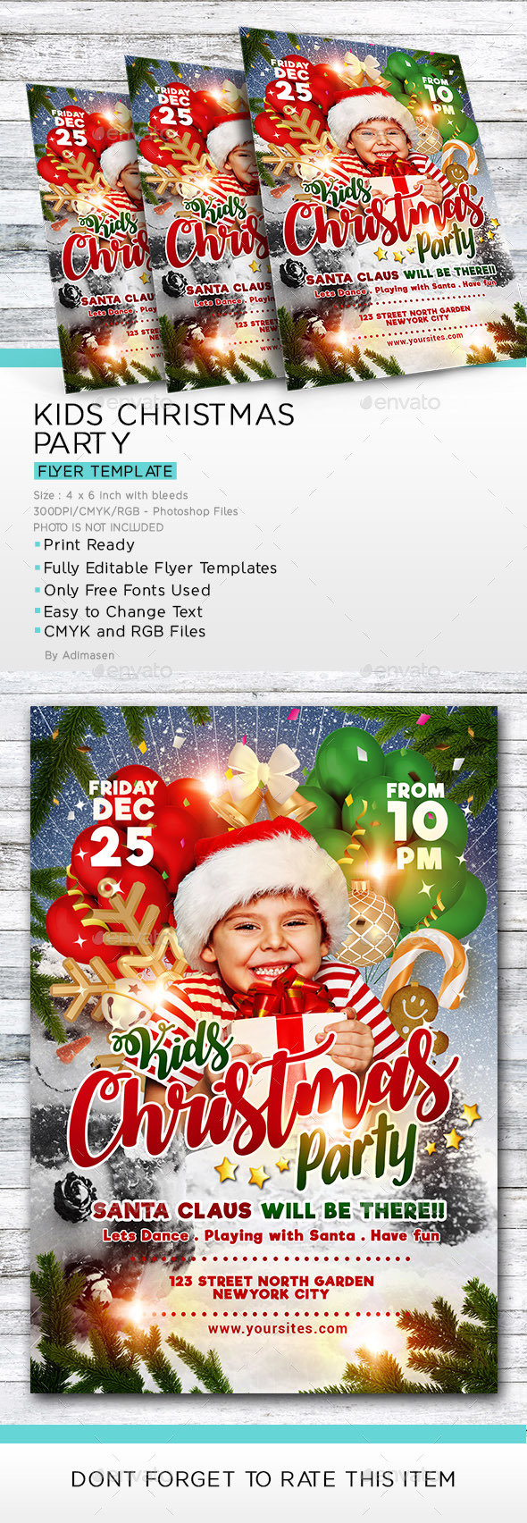 Kids Christmas Party Flyer Template - Events Flyers