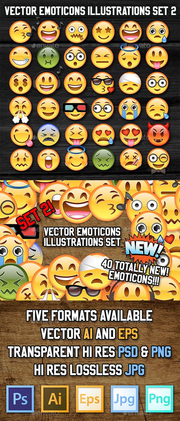36 Vector Emoji Illustration - Decorative Symbols Decorative