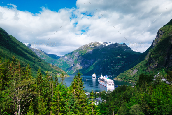 Breathtaking view of Sunnylvsfjorden fjord - Stock Photo - Images