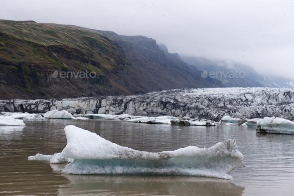 Icebergs in Fjallsarlon glacial lagoon - Stock Photo - Images