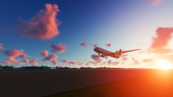 VideoHive The Plane Landing to San Antonio in USA at Sunset 21015903