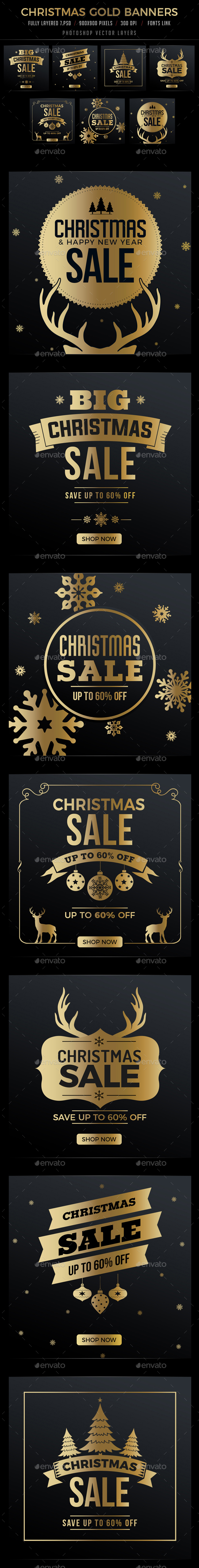 7 Christmas Gold Banners - Banners & Ads Web Elements