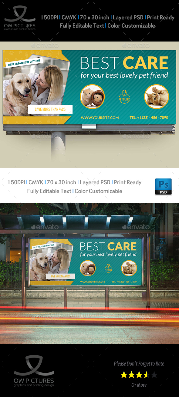 GraphicRiver Veterinarian Clinic Billboard Template 21016019