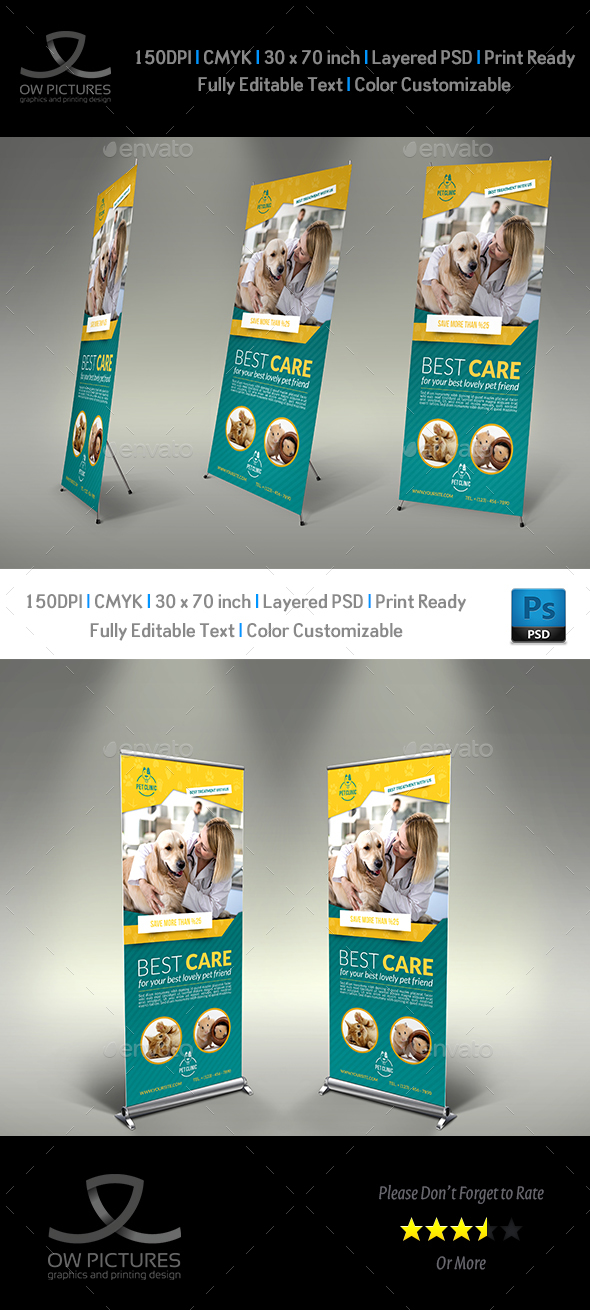 Veterinarian Clinic Signage Banner Roll Up Template - Signage Print Templates