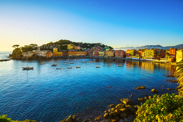 Sestri Levante, silence bay sea harbor and beach view on sunset. - Stock Photo - Images