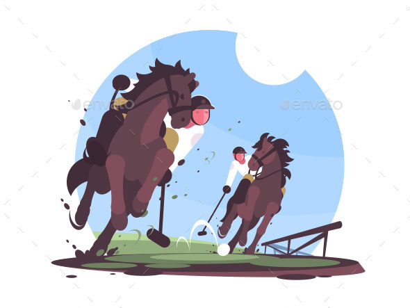 Players Playing Polo on Green Field - Characters Vectors