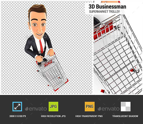 3D Businessman Empty Supermarket Trolley - Characters 3D Renders