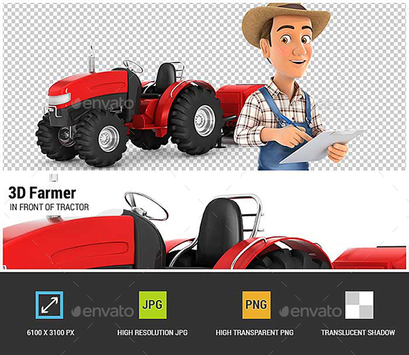 3D Farmer with Notepad in Front of Tractor - Characters 3D Renders